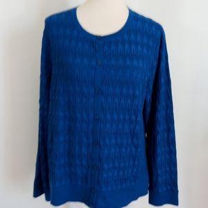 PENDLETON Royal Blue Textured Cardigan Sweater